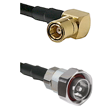 SMB Right Angle Female on RG142 to 7/16 Din Male Cable Assembly