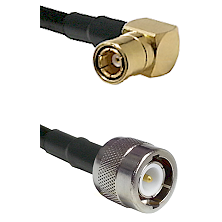 SMB Right Angle Female on RG142 to C Male Cable Assembly