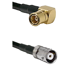 SMB Right Angle Female on RG142 to MHV Female Cable Assembly