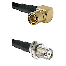 SMB Right Angle Female on RG142 to Mini-UHF Female Cable Assembly