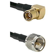SMB Right Angle Female on RG142 to Mini-UHF Male Cable Assembly