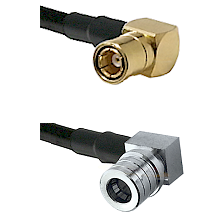 SMB Right Angle Female on RG400 to QMA Right Angle Male Cable Assembly