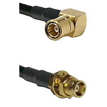 SMB Right Angle Female on RG58C/U to MCX Female Bulkhead Cable Assembly