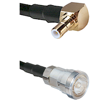 SMB Right Angle Male on RG142 to 7/16 Din Female Cable Assembly