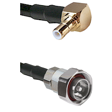 SMB Right Angle Male on RG142 to 7/16 Din Male Cable Assembly
