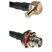 SMB Right Angle Male on RG142 to C Female Bulkhead Cable Assembly