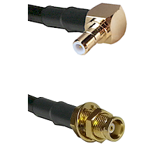 SMB Right Angle Male on RG142 to MCX Female Bulkhead Cable Assembly