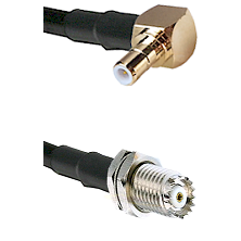 SMB Right Angle Male on RG142 to Mini-UHF Female Cable Assembly
