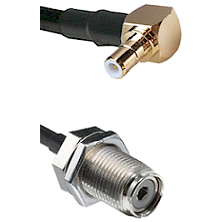 Right Angle SMB Male on RG142 to UHF Female Bulk Head Connectors Cable Assembly