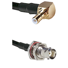 SMB Right Angle Male on RG58C/U to BNC Female Bulkhead Cable Assembly