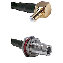 SMB Right Angle Male on RG58C/U to QN Female Bulkhead Cable Assembly