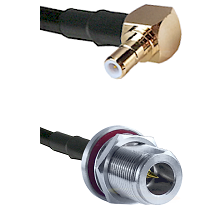 SMB Right Angle Male on RG58C/U to N Reverse Polarity Female Bulkhead Cable Assembly