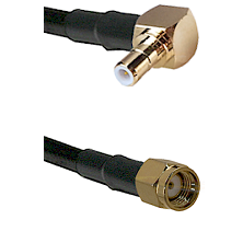 SMB Right Angle Male on RG58C/U to SMA Reverse Polarity Male Cable Assembly