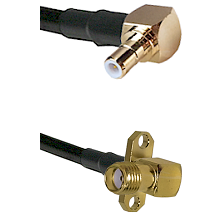 SMB Right Angle Male on RG58C/U to SMA 2 Hole Right Angle Female Cable Assembly