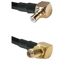 SMB Right Angle Male on RG58C/U to SMA Right Angle Female Bulkhead Cable Assembly