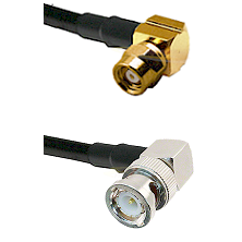 SMC Right Angle Female on Belden 83242 RG142 to BNC Right Angle Male Cable Assembly