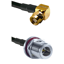 SMC Right Angle Female on LMR-195-UF UltraFlex to N Reverse Polarity Female Bulkhead Coaxial Cable A