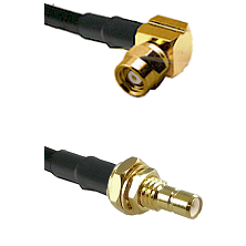 SMC Right Angle Female on LMR-195-UF UltraFlex to SMB Male Bulkhead Cable Assembly