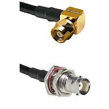 SMC Right Angle Female on LMR200 UltraFlex to BNC Female Bulkhead Cable Assembly