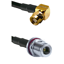 SMC Right Angle Female on LMR200 UltraFlex to N Female Bulkhead Cable Assembly