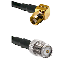 SMC Right Angle Female on RG142 to Mini-UHF Female Cable Assembly