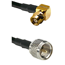 SMC Right Angle Female on RG142 to Mini-UHF Male Cable Assembly