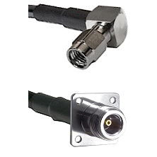 SSMA Right Angle Male on LMR100 to N 4 Hole Female Cable Assembly