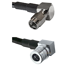 SSMA Right Angle Male on RG188 to QMA Right Angle Male Cable Assembly