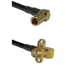 SSMB Right Angle Female on LMR195 to SMA 2 Hole Right Angle Female Cable Assembly