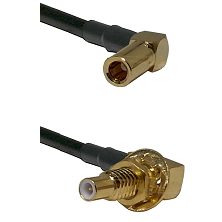 SSMB Right Angle Female on RG188 to SLB Male Bulkhead Cable Assembly