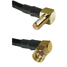 SSMB Right Angle Male on Belden 83242 RG142 to SMA Right Angle Male Cable Assembly