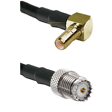SSMB Right Angle Male on LMR100 to Mini-UHF Female Cable Assembly
