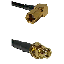 SSMC Right Angle Female on LMR100 to MCX Female Bulkhead Cable Assembly