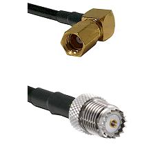 SSMC Right Angle Female on LMR100 to Mini-UHF Female Cable Assembly