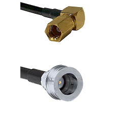 SSMC Right Angle Female on LMR100 to QN Male Cable Assembly