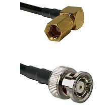 SSMC Right Angle Female on RG174 to BNC Reverse Polarity Male Cable Assembly
