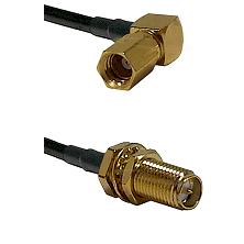SSMC Right Angle Female on RG223 to SMA Reverse Polarity Female Bulkhead Cable Assembly