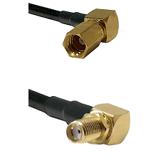 SSMC Right Angle Female Connector On RG316DS Double Shielded To SMA Reverse Thread Right Angle Fema
