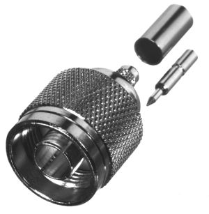 RT-1005-C1 RF Industries N MALE CRIMP Plug, LEFT HAND THREAD, Nickel,Gold,T; FOR RG-142/U, CBL GPR C