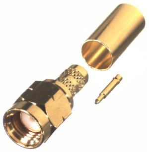 RT-3000-1C1 RF Industries SMA MALE CRIMP, LEFT HAND THREAD, Gold,Gold,T; FOR RG-142/U & RG-55/U, CBL