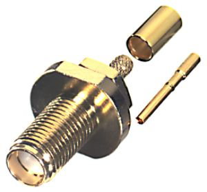 RT-3252-1B1-04 RF Industries SMA FEM CRIMP, LEFT HAND THREAD, Gold,Gold,T; FOR RG-174-DS & RG-316-DS