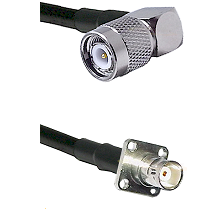 TNC Right Angle Male on LMR100 to BNC 4 Hole Female Cable Assembly