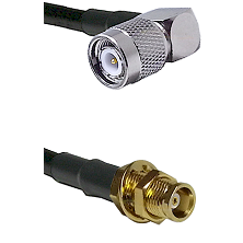 TNC Right Angle Male on LMR100 to MCX Female Bulkhead Cable Assembly