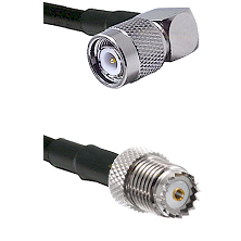 TNC Right Angle Male on LMR100 to Mini-UHF Female Cable Assembly