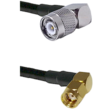 TNC Right Angle Male on LMR-195-UF UltraFlex to SMA Reverse Polarity Right Angle Male Coaxial Cable