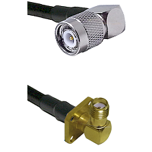 TNC Right Angle Male on LMR-195-UF UltraFlex to SMA 4 Hole Right Angle Female Cable Assembly