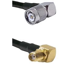 TNC Right Angle Male on LMR-195-UF UltraFlex to SMA Reverse Thread Right Angle Female Bulkhead Coaxi