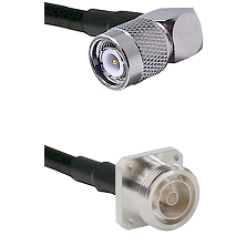 TNC Right Angle Male Connector On LMR-240UF UltraFlex To 7/16 4 Hole Female Connector Coaxial Cable