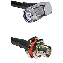 TNC Right Angle Male Connector On LMR-240UF UltraFlex To C Female Bulkhead Connector Coaxial Cable A