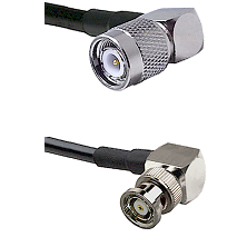TNC Right Angle Male on LMR240 Ultra Flex to BNC Reverse Polarity Right Angle Male Coaxial Cable Ass